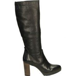 Kozaki ocieplane - 126318 NERO. Czarne buty zimowe damskie marki Kazar, ze skóry, na wysokim obcasie. Za 319,00 zł.
