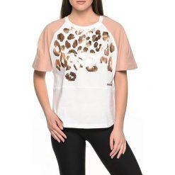 T-shirty damskie: T-shirt w kolorze brązowo-białym