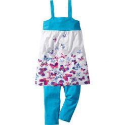 Sukienka + legginsy 3/4 (2 części) bonprix turkusowy w motylki. Fioletowe legginsy dziewczęce marki bonprix, na ramiączkach. Za 27,99 zł.