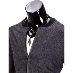 BLUZA MĘSKA ROZPINANA BEZ KAPTURA B673 - GRAFITOWA. Szare bluzy męskie rozpinane marki Ombre Clothing, m, bez kaptura. Za 59,00 zł.