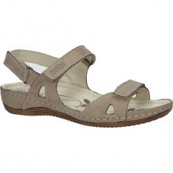 Beżowe sandały skórzane na koturnie Helios 205. Brązowe sandały damskie marki Helios, na koturnie. Za 158,99 zł.