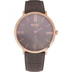 Zegarek kwarcowy w kolorze szaro-różowozłotym. Czarne, analogowe zegarki męskie marki HUGO BOSS, ze stali. W wyprzedaży za 608,95 zł.