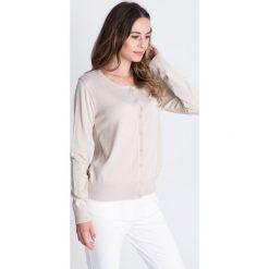 Beżowy sweter zapinany na guziki  BIALCON. Brązowe swetry rozpinane damskie BIALCON. Za 159,00 zł.