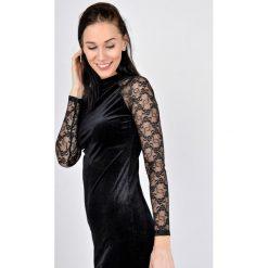Sukienki: Brokatowa sukienka z rękawami z koronki w kwiaty