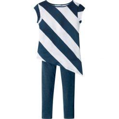 Bluzki dziewczęce z długim rękawem: Długi top + legginsy (2 części) bonprix biało-ciemnoniebieski