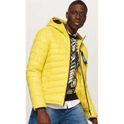 Odzież męska: Pikowana kurtka z kapturem - Żółty