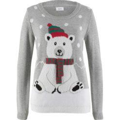 Sweter z okrągłym dekoltem bonprix jasnoszary melanż wzorzysty. Szare swetry klasyczne damskie marki bonprix, z okrągłym kołnierzem. Za 89,99 zł.
