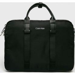 Calvin Klein - Torba. Czarne torby na laptopa Calvin Klein, w paski, z materiału. Za 649,90 zł.