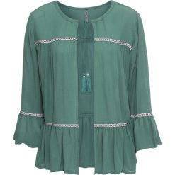 Bluzka z wiązanym troczkiem bonprix zielony. Zielone bluzki z odkrytymi ramionami marki bonprix, z kontrastowym kołnierzykiem. Za 49,99 zł.