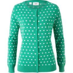 Swetry rozpinane damskie: Sweter rozpinany bonprix szmaragdowo-biały w groszki