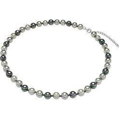 Naszyjniki damskie: Naszyjnik z pereł w kolorze szaro-antracytowym – dł. 42 cm