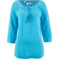 Bluzki, topy, tuniki: Bluzka z dekoltem carmen, rękawy 3/4 bonprix jasny niebieski