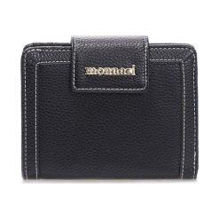 Portfel z przeszyciami 14cm x 10cm. Czarne portfele damskie Monnari, ze skóry. Za 64,50 zł.