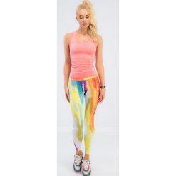 Kolorowe plamiaste legginsy sportowe HT001. Szare legginsy sportowe damskie marki Fasardi, l, w kolorowe wzory. Za 59,00 zł.