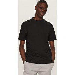 T-shirty męskie: Jednolity t-shirt basic – Czarny