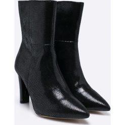 Caprice - Botki. Szare buty zimowe damskie Caprice, z materiału, na obcasie. W wyprzedaży za 199,90 zł.