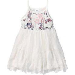 Sukienki dziewczęce: Sukienka z falban z koronką bonprix biel wełny z nadrukiem