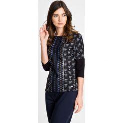 Bluzki asymetryczne: Czarna bluzka ze wzorem QUIOSQUE