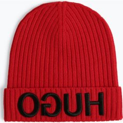 HUGO - Wełniana czapka – Unisex-X537, czerwony. Czerwone czapki damskie HUGO, z wełny. Za 249,99 zł.