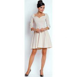 Sukienki: Beżowa Kobieca Rozkloszowana Sukienka z Dekoltem w Serce