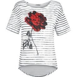 Innocent Eerika Koszulka damska czarny/biały. Niebieskie bluzki damskie marki Innocent, xl, w ażurowe wzory, z materiału, z dekoltem na plecach. Za 79,90 zł.