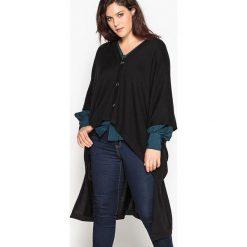 Długi, asymetryczny rozpinany sweter, krótki rękaw. Czarne kardigany damskie CASTALUNA. Za 157,46 zł.