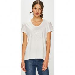 Converse - T-shirt. Szare t-shirty damskie Converse, m, z nadrukiem, z bawełny, z okrągłym kołnierzem. Za 129,90 zł.