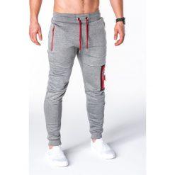 SPODNIE MĘSKIE DRESOWE P658 - SZARE. Szare spodnie dresowe męskie Ombre Clothing, z bawełny. Za 48,00 zł.