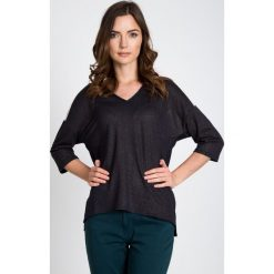 Bluzki damskie: Granatowa bluzka ze złotym połyskiem QUIOSQUE