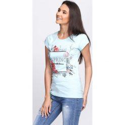 T-shirty damskie: Jasnoniebieski T-shirt Beautiful Bloom
