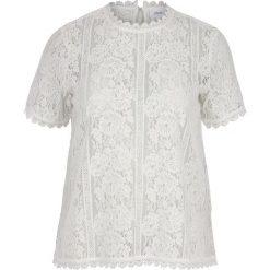 Bluzki asymetryczne: Prosta gładka bluzka z krótkimi rękawami i stójką