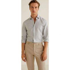 Mango Man - Koszula Pol. Szare koszule męskie na spinki Mango Man, l, z bawełny, z klasycznym kołnierzykiem, z długim rękawem. Za 199,90 zł.