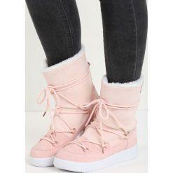 Różowe Śniegowce Moonlight Dance. Czerwone buty zimowe damskie Born2be, z materiału. Za 79,99 zł.