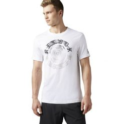 Reebok Koszulka biała Spin Tee r. XXL (BK5223). Pomarańczowe koszulki sportowe męskie marki Reebok, z dzianiny, sportowe. Za 79,38 zł.