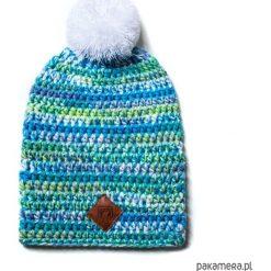 Czapka dziana KRAFF LIGHT BLUE FUN handmade. Niebieskie czapki damskie Pakamera, z aplikacjami, z dzianiny. Za 119,00 zł.