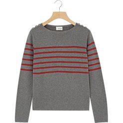 Swetry klasyczne damskie: Sweter w kolorze szaro-czerwonym