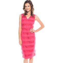 Sukienki: Różowa dopasowana sukienka  BIALCON