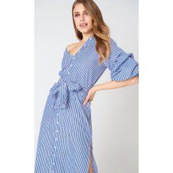 Sukienki hiszpanki: Hot & Delicious Sukienka midi z odkrytym ramieniem – Navy