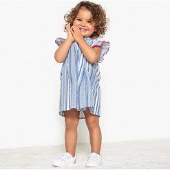 Rozszerzana sukienka w paski 1 miesiąc - 3 lata. Niebieskie sukienki dziewczęce marki La Redoute Collections, w paski, z bawełny, bez rękawów, krótkie, mini. Za 88,16 zł.