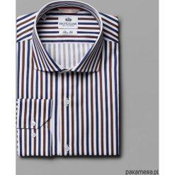 Koszule męskie: Koszula w granatowo-brązowe paski