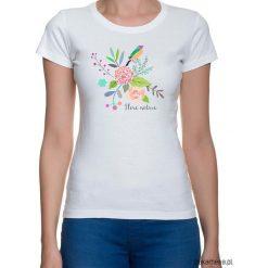 Koszulka damska. kwiaty i ptaki. Szare bluzki z odkrytymi ramionami Pakamera, w kwiaty. Za 79,00 zł.