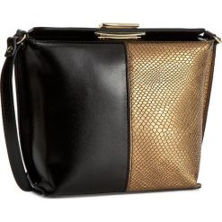 Torebka CREOLE - K10184  Czarny/Ciemny Złoty. Czarne listonoszki damskie Creole, ze skóry. W wyprzedaży za 169,00 zł.