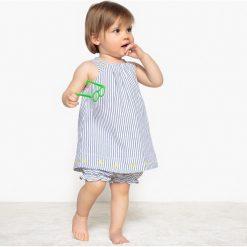 Spodnie niemowlęce: Komplecik niemowlęcy sukienka + spodenki w paski 0 miesięcy – 3 latka
