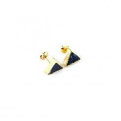 Kolczyki Sodalit Trójkąty złoto. Niebieskie kolczyki damskie Brazi druse jewelry, z sodalitem, z mosiądzu, na sztyftcie. Za 170,00 zł.