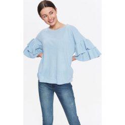Swetry oversize damskie: SWETER DAMSKI Z FALBANKAMI NA RĘKAWACH