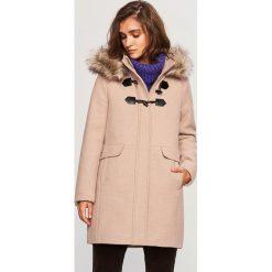 Płaszcz z wełną - Beżowy. Brązowe płaszcze damskie pastelowe Reserved, z wełny. Za 299,99 zł.