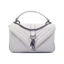 Torebki klasyczne damskie: Skórzana torebka w kolorze szarym – (S)18 x (W)27 x (G)8 cm