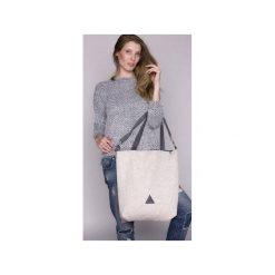 TORBA DAMSKA na ramię kość słoniowa. Białe torebki klasyczne damskie drops, w paski, z bawełny. Za 139,00 zł.