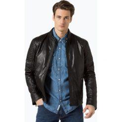 Finshley & Harding - Męska kurtka skórzana, czarny. Czarne kurtki męskie pikowane marki Finshley & Harding, w kratkę. Za 899,95 zł.