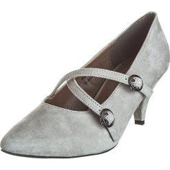 Buty ślubne damskie: Skórzane czółenka w kolorze szarym